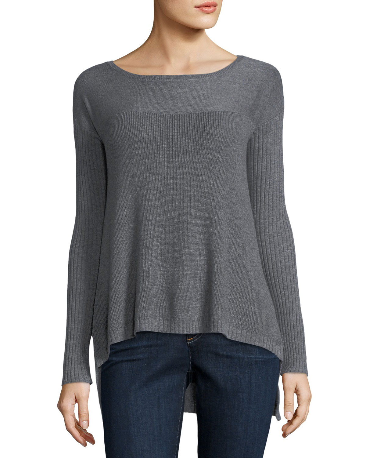 Ribbed-Trim Pullover Sweater