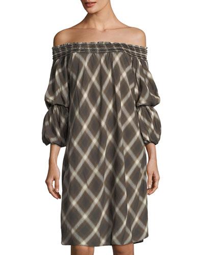Plaid Off-the-Shoulder Shift Dress