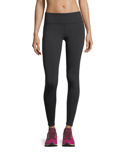 Luminous Mesh Performance Leggings w/ Pintucking