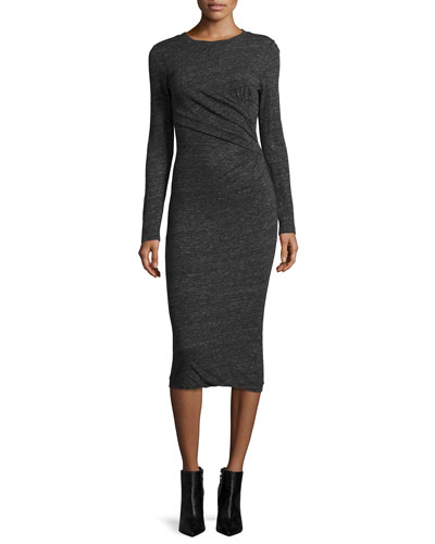 Napinka Crewneck Long-Sleeve Cotton-Blend Midi Dress