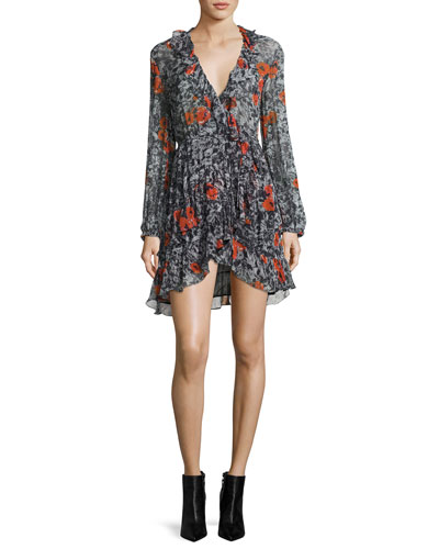 Villia Printed Wrap Mini Dress w/ Ruffled Trim