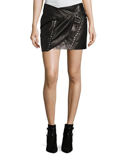 Mupper Studded Leather Wrap Mini Skirt