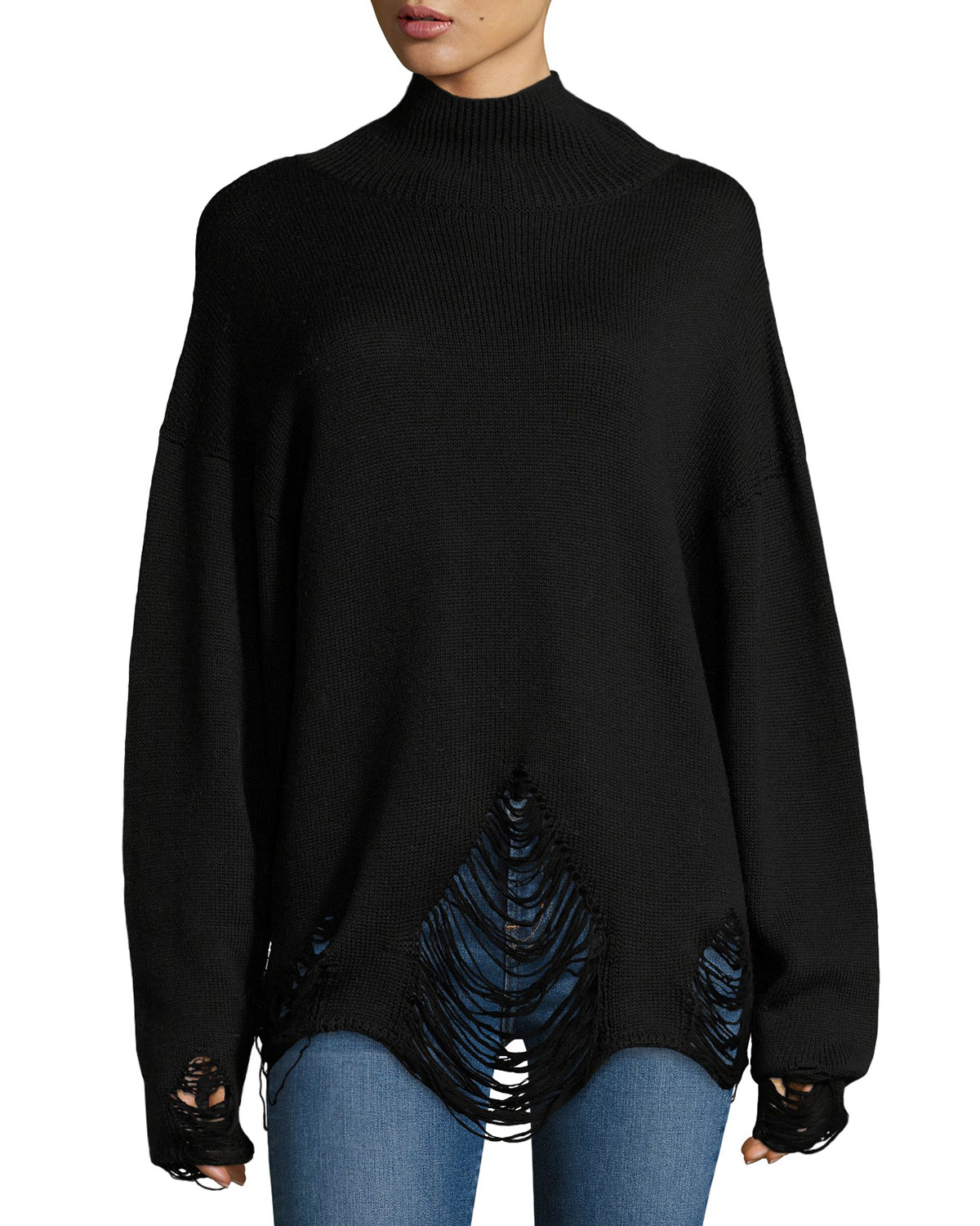 Padas Turtleneck Fringed-Hem Wool Sweater