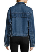 Donna Button-Front Denim Jacket w/ Ruffled Trim