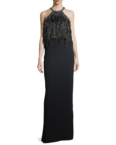 Dominique Halter Beaded Feather Evening Gown