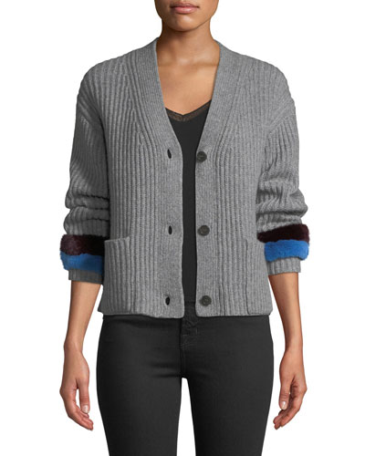 Knox Button-Front Cashmere Sweater w/ Fur Cuffs