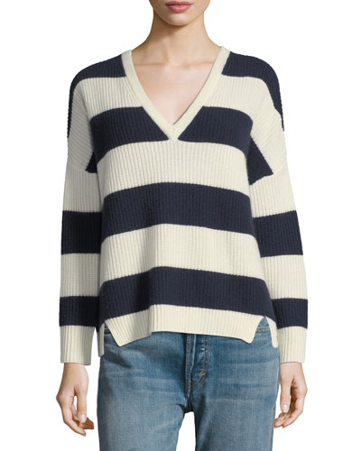 Addison V-Neck Long-Sleeve Striped Sweater