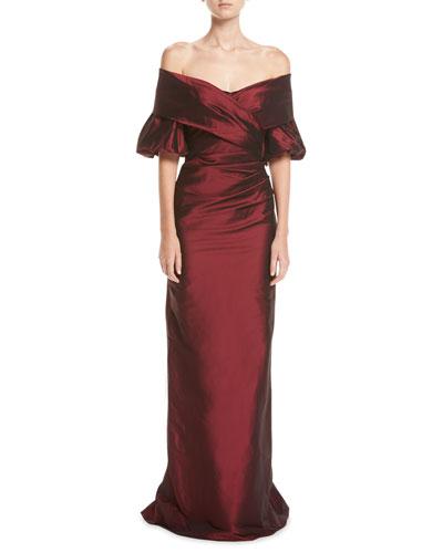 Off-the-Shoulder Portrait Puff-Sleeve Taffeta Evening Gown