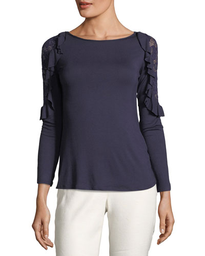 Lace-Inset Ruffled Jersey Tee