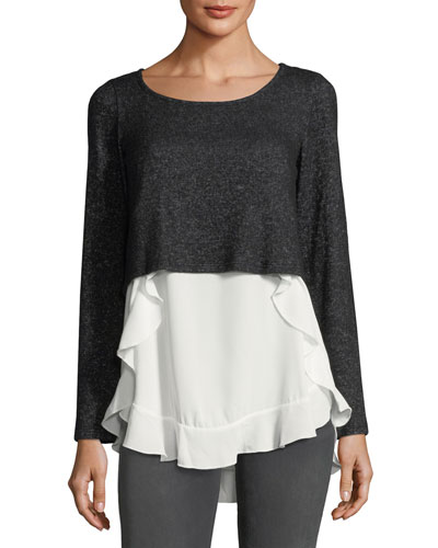 Mixed-Media High-Low Ruffle Sweater
