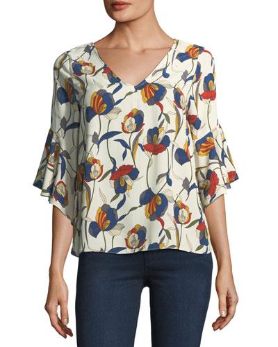 Bell-Sleeve V-Neck Floral-Print Blouse