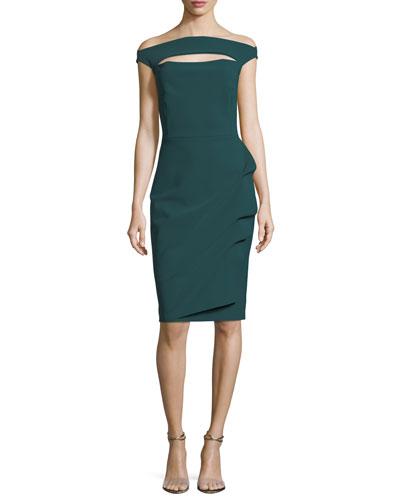 Off-the-Shoulder Long-Sleeve Cocktail Dress w/ Velvet Inserts
