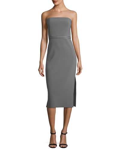 Sierra Strapless Fitted Sheath Crepe Dress