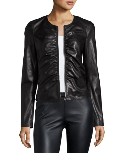 Jean Ruched Zip-Front Leather Moto Jacket