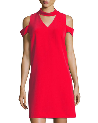 Choker-Collar Crepe Sheath Dress