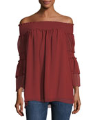 Cinch-Sleeve Off-the-Shoulder Blouse