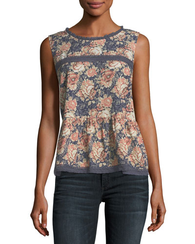 The Peplum Floral-Print Tank w/ Lace