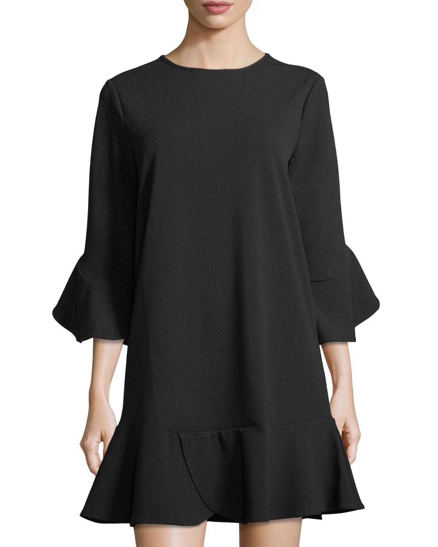 Ruffled Jewel-Neck Shift Dress