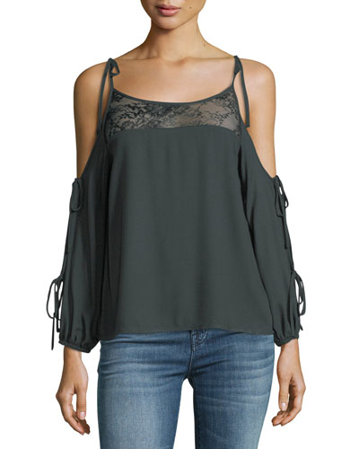 Catarina Cold-Shoulder Top w/ Lace