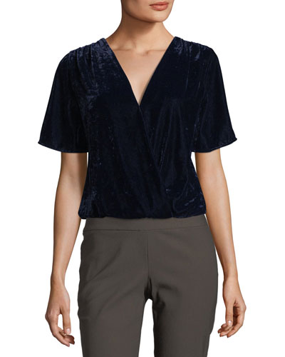 Serene Surplice Short-Sleeve Velvet Top