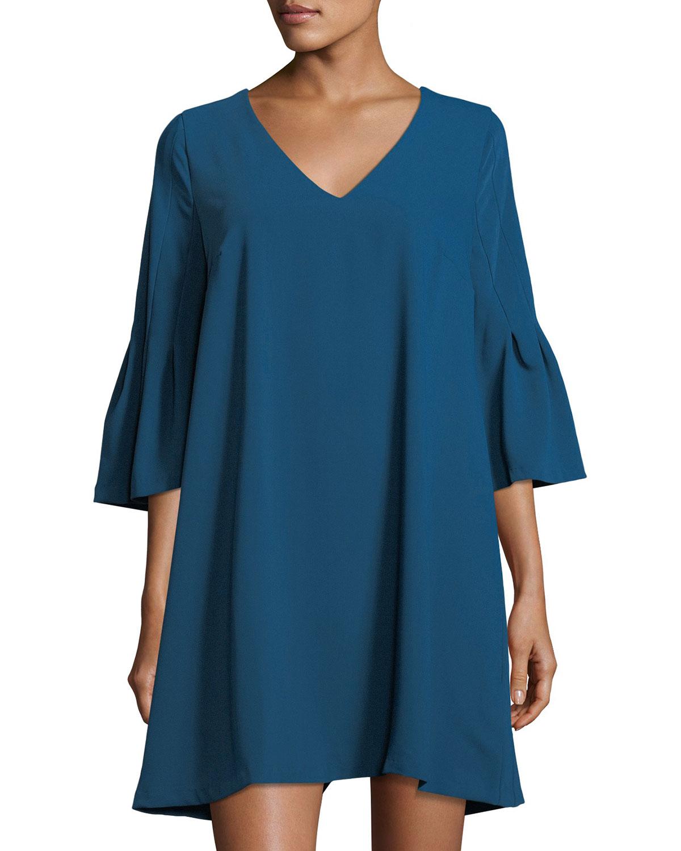 Flare-Sleeve V-Neck A-line Dress