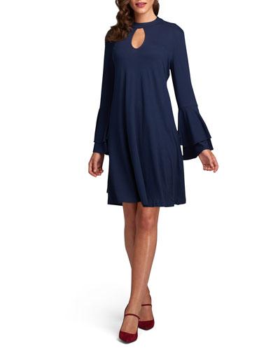 Double-Bell-Sleeve A-Line Dress