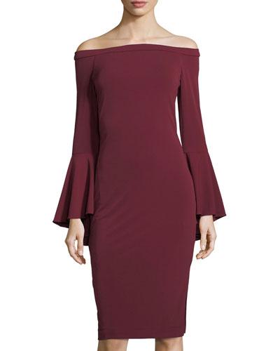 Off-Shoulder Bell-Sleeve Sheath Dress