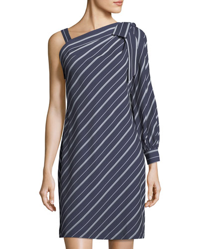 One-Sleeve Bow-Shoulder Striped Dress