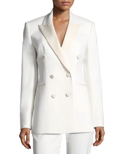 Double-Breasted Wool Tuxedo Blazer
