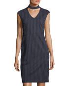 Mock-Neck Striped Sheath Dress