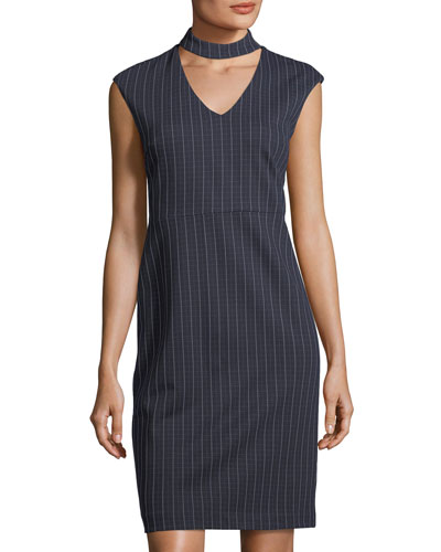 Mock-Neck Striped Sheath Dress