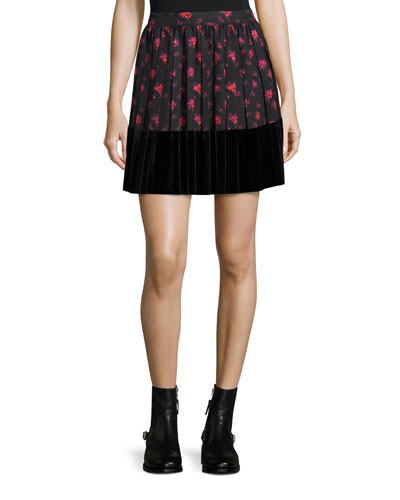 Floral-Print A-Line Pleated Skirt w/ Velvet