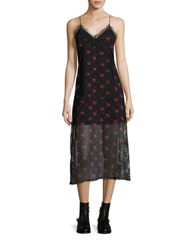 Decon Floral-Print Chiffon Slip Dress w/ Lace