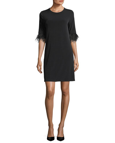 Lightweight Shift Dress w/ Ostrich Feather Cuffs