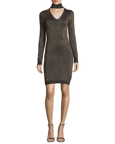 Lurex Choker-Collar Sweater Dress