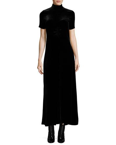 Turtleneck Short-Sleeve Velvet Maxi Dress