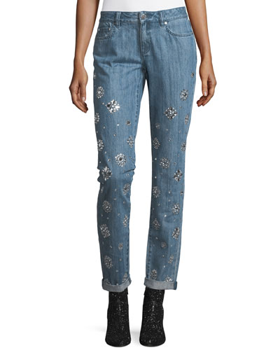 Dillon Jeweled Straight-Leg Jeans