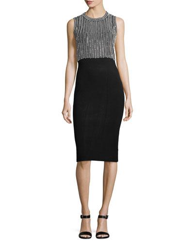 Sleeveless Embellished Sheath Midi Dress