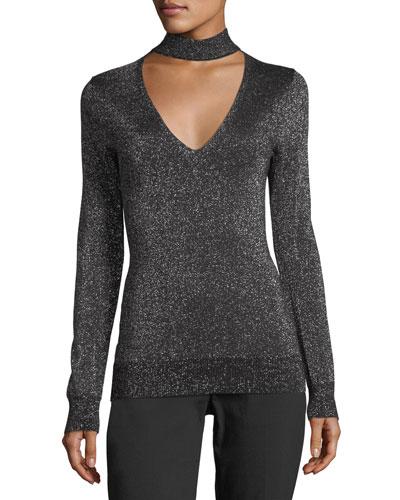 Lurex Choker-Collar Sweater