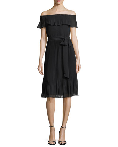 Ruffled Off-the-Shoulder Pleated Cocktail Dress