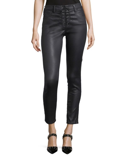 Farrah Lace-Up High-Rise Skinny-Leg Ankle Pants