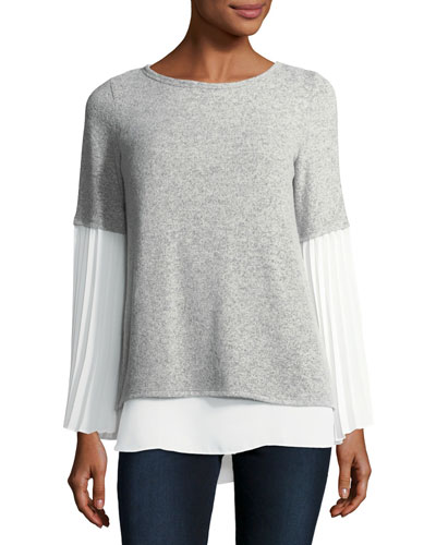 Chiffon-Trim Long-Sleeve Top
