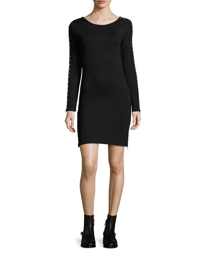 Round-Neck Zip-Sleeve Fitted Short Dress