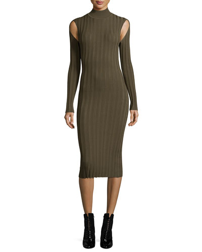 Ribbed Lace Turtleneck Long-Sleeve Fitted Dress