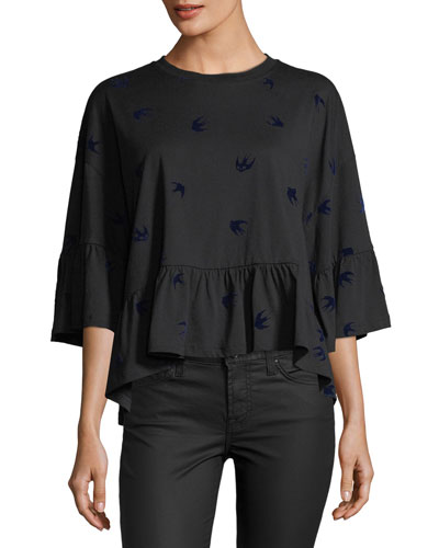 Crewneck Loose Ruffle Cotton Tee w/ Swallows