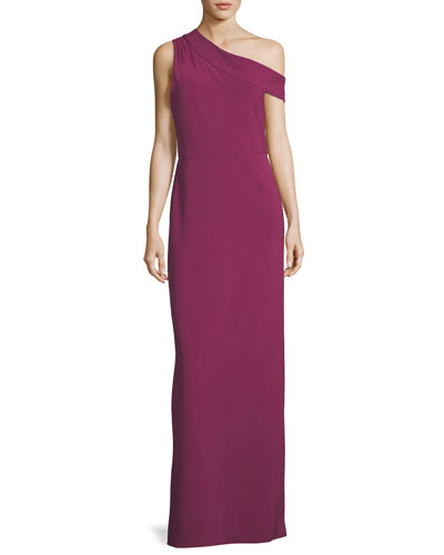 Andrea One-Shoulder Column Evening Gown