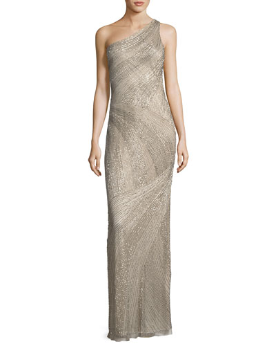 Tasha One-Shoulder Beaded Sequin Evening Gown