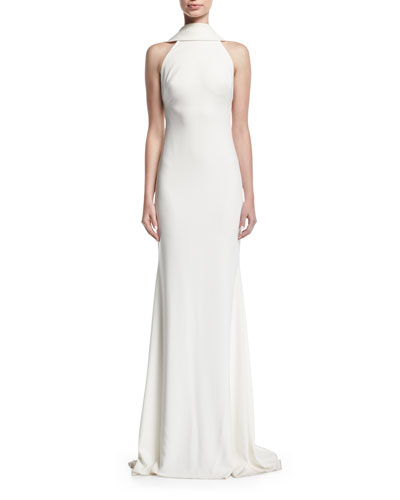 Beaded Loopback Sleeveless Column Evening Gown