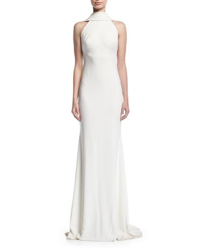 Beaded Loopback Sleeveless Column Evening Gown