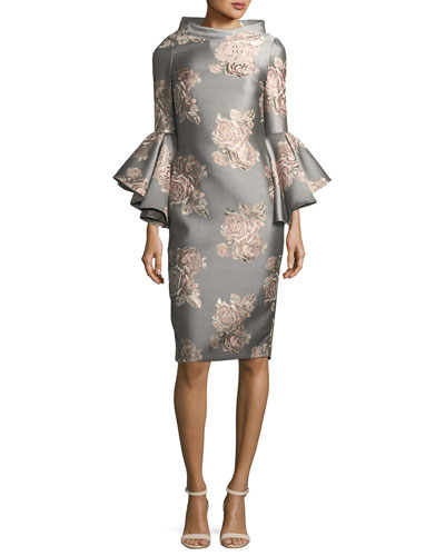 Funnel-Neck Flutter-Sleeve Floral-Jacquard Cocktail Dress